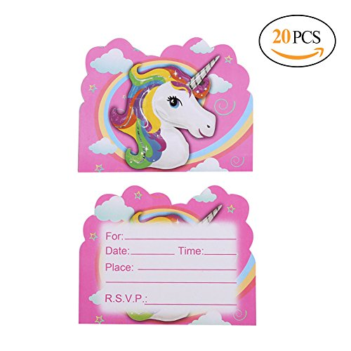 Hangnuo 20 PCS Unicorn Party Invitations Cards for Kids Birthday Party Favors (Party Popcorn Invitations)