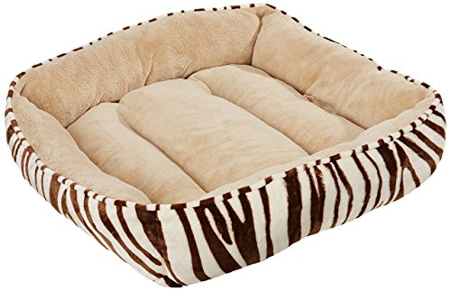 (HappyCare Textiles HCT REC-002 Rectangle Ultra-Soft Printed Dog and Pet Bed, Chocolate Zebra)