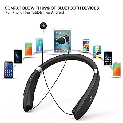 Retractable Earbuds Foldable Headphone, GRDE® Neckband Style Bluetooth Headphone Headset, Wireless Sport Earphone Earpiece with Microphone, Compatible for most of Digital Equipment with Bluetooth