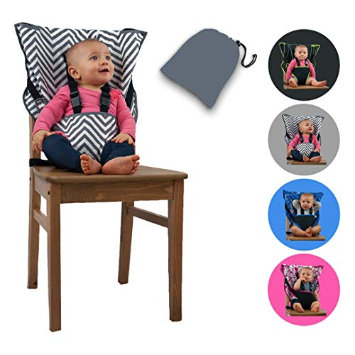 Cozy Cover Easy Seat Portable High Chair (Chevron) - Quick, Easy, Convenient Cloth Travel High Chair Fits in Your Hand Bag for a Happier, Safer Infant/Toddler (Inflatable Car Booster Seat In A Bag)