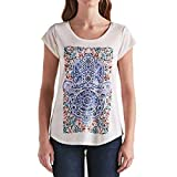 Lucky Brand Ladies Graphic Tee (X-Large, White Tribal Graphic Print)