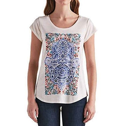 Lucky Brand Ladies Graphic Tee (X-Large, White Tribal Graphic Print) by Lucky Brand