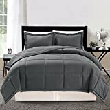 Alternative Comforter - 2 piece Luxury Solid GREY Goose Down Alternative Comforter set, Twin / Twin XL with Corner Tab Duvet Insert