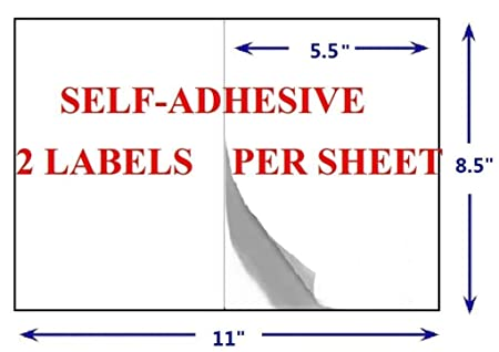Amazon.com : Half Sheet Self Adhesive Shipping Labels for Laser ...