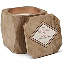 Woods Collection Soy Wax Candle In Mango Wood Bowl, 12-Ounce, Redwood & Amber