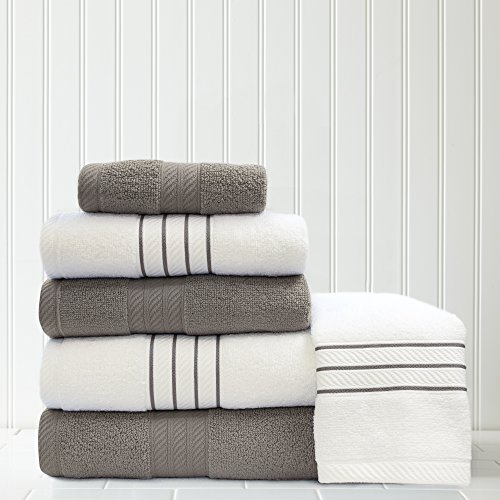 Platinum Stripe (Allure 100% Cotton Quick Dry Stripe/Contrast Towel Set, Platinum, (6-Piece))