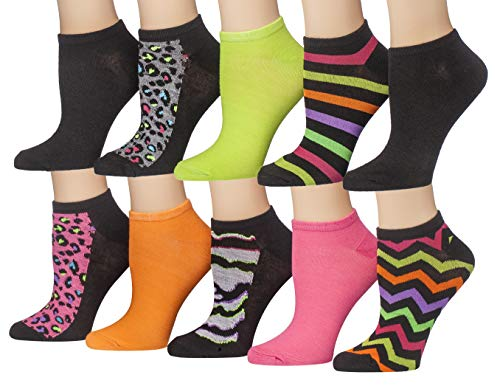 Tipi Toe Women's 10 Pairs Colorful Patterned Low Cut/No Show