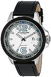 Stuhrling Original Men's 175C.332D52 Octane Grand Concorso Swiss Quartz Date Silver Dial Black Leather Strap Watch