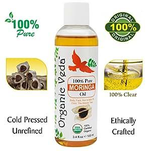 ORGANIC MORINGA PREMIUM OIL - COLD PRESSED (100ml 3.4 fl.oz). 100% Natural and Pure Oil. USDA Certified Organic