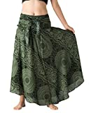 Bangkokpants Women's Long Hippie Bohemian Skirt Gypsy Dress Boho Clothes Flowers One Size Fits (Blossom Green, One Size)