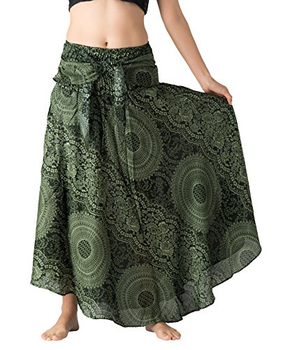 Bangkokpants Women's Long Hippie Bohemian Skirt Gypsy Dress Boho Clothes Flowers One Size Fits (Blossom Green, One Size) by Bangkokpants