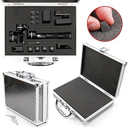 DURAGADGET Protective Silver Aluminium Flight Case With Shock Absorbing D I Y Customizable Foam Interior Compatible with PNJ Feiyu G4 Plus Action Camera