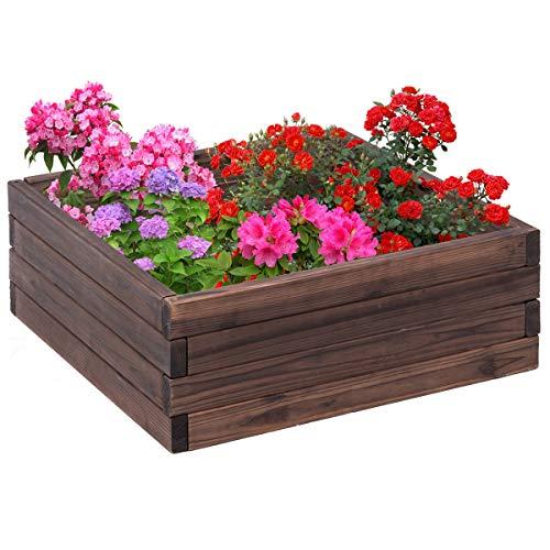 (Giantex Square Raised Garden Bed Wood Outdoor Patio Vegetable Flower Rectangular Planter 24''Lx24''Wx10''H, Brown)