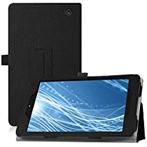 "Famavala Premium Vegan Leather Folio Case Cover for 8"" Insignia Flex NS-P08A7100 (2016 Release) 8-Inch Android 6.0 Tablet (Black)"