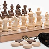 A&A 15' Wooden Chess Set / Checkers - 3' King Height Wooden Chess Pieces / German Knight Staunton Chessmen - Classic Board Game