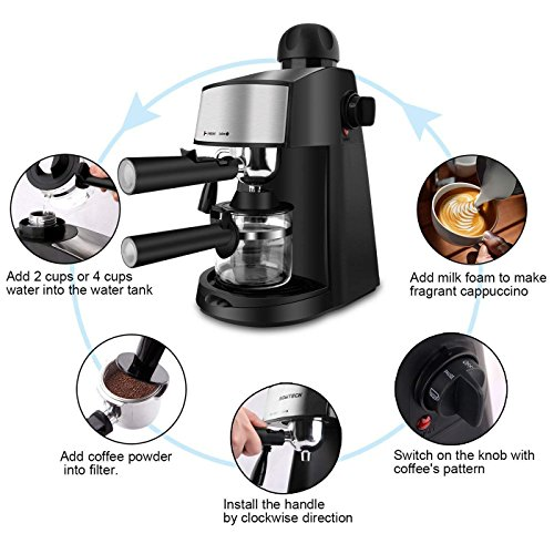 Steam Espresso Machine 800W 4 Cup Stainless Steel Espresso Cappuccino Latte Coffee Maker with Milk Frother and Carafe by SOWTECH (Image #2)