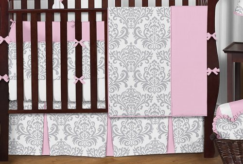 amazoncom sweet jojo designs pink gray and white elizabeth baby girl bedding 9pc crib set baby girl bedding baby - Gray Baby Cribs