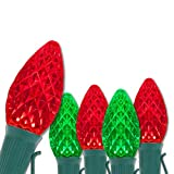 C7 OptiCore Commercial Red and Green Christmas Lights - Christmas String Lights, Durable Outdoor Christmas Lights – Brightest LED Christmas Lights; Green Wire (50 lights, 50 ft)