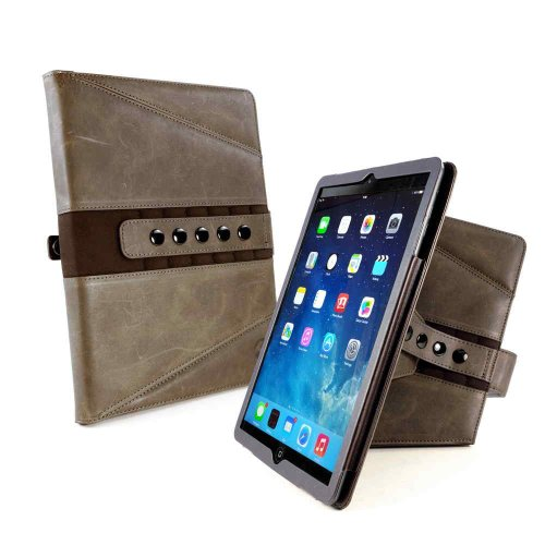 Tuff-Luv Tri-Axis Western Leather Collection Case Cover for Apple iPad Pro 10.5 -Brown