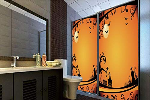 Horrisophie dodo No Glue Static Cling Glass Sticker,Vintage Halloween,Halloween Themed Image Eerie Atmosphere Gravestone Evil Pumpkin Moon Decorative,Orange Black,39.37