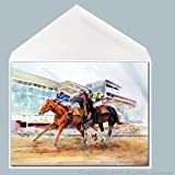 Day at the Races watercolor Greeting Card by Dotty Reiman