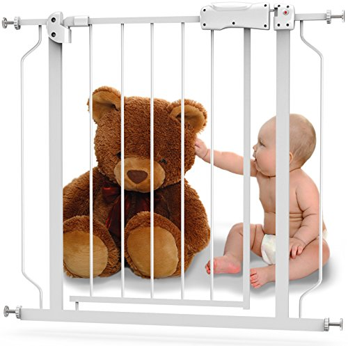 Baby-Safety-Gate-with-Walk-Thru-Door-From-29-to-39-with-1-Extension-Strong-Durable-Metal-with-Easy-Locking-System-Great-for-Doorways-Staircases-Children-or-Pets