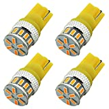 4-Pack 194 168 921 5th Generation 240Lums Amber / Yellow LED Light 12V-24V,AMAZENAR Car Interior Exterior T10 T15 18SMD 3014 Replacement For 912 2825 Map Dome License Plate Dashboard Side Marker Light