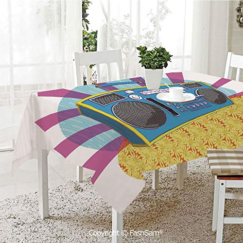 3D Dinner Print Tablecloths Retro Boom Box in Pop Art Manner Dance Music Colorful Composition Decorative Table Protectors for Family Dinners (W55 - Napkin Cocktail Box Grape