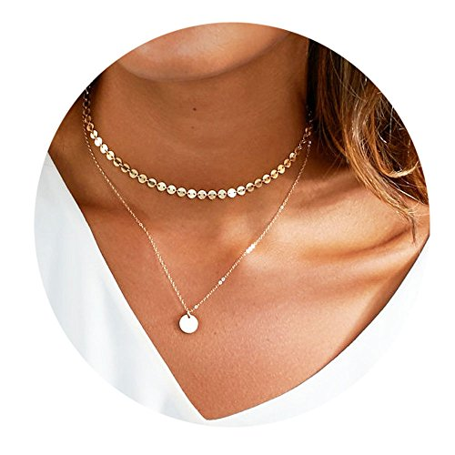 Elegant Double Layers Wafer Pendant Choker Necklace for Women and Girl (Gold) Double Star Necklace