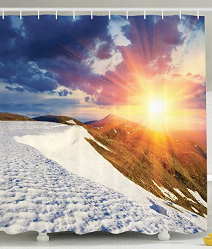 Female Climber (Spring Landscape Snowy Sunny Mountains Gifts for Mountain Climbers View Sunset Artist Picture High Resolution Art Decor for Bathroom Polyester Fabric Shower Curtain Blue Yellow Orange Green White)