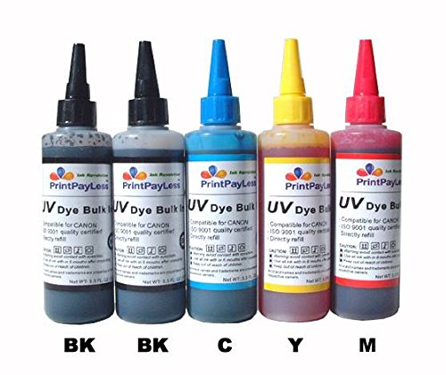 Ip4200 Ink Refill - PrintPayLess® Brand 500ml UV resistant Refill Ink, Bulk Ink for Canon PGI-5 CLI-(non-OEM) CIS/CISS and refillable cartridges: PIXMA iP4200, PIXMA iP4200R, PIXMA iP4300, PIXMA iP4500, PIXMA iP5200, PIXMA iP5200R..