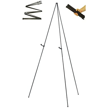Folding Instant Display Easel, 66  Tall Floor Poster Easel, Black Steel Metal Telescoping Easel, Easy Assembly