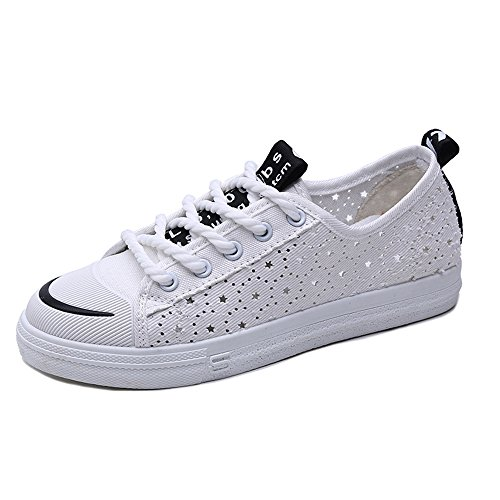 Skate Slip Canvas White Flat Top Low Shoes Sneakers On Casual Women's Egqw8Tq