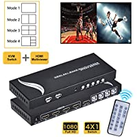 [Upgraded] HDMI 4x1 Quad MultiViewer, with KVM Function for Gamer, 1080P 4 in 1 out, 4 Modes with IR Remote for Game/Exhibition Hall/Education/ Surveillance/Video Meeting etc.