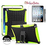 TCD iPad Air Neon Green Armor Hybrid Defender Shield Case Dual Layer Protection With Kickstand