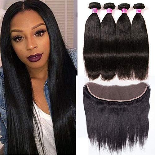 QinMei Brazilian Straight Hair 3 Bundles With Frontal Closure 13×4 Ear To Ear Lace Frontal Closure With Bundles 100% Unprocessed Virgin Human Hair Weave Extensions Natural Color (10 12 14+10 Frontal) ()