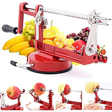 Apple Peeler Masione® Slicer & Corer / Peel, Slice & Core W/ Suction Base for Everyday Kitchen Use (Red)