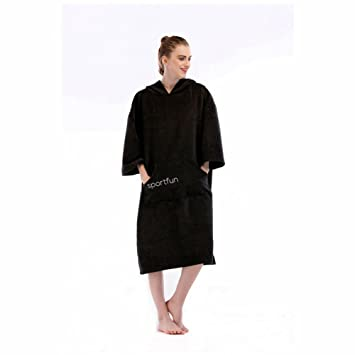 d35bc01674 Adult Hooded Beach Towel Changing Robe - Short Sleeve Towelling Change  Poncho Dry Robe with