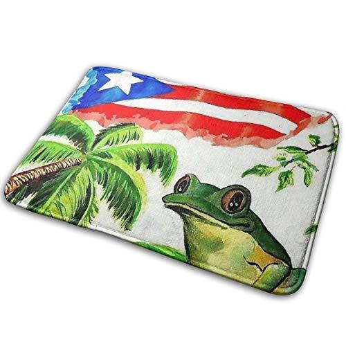 Elizadaisy Puerto Rico Flag Palm Frog Doormat 23.6x15.8 Inches Anti-Slip Welcome Door Mat Living Room Mat Home Decor Area Rug
