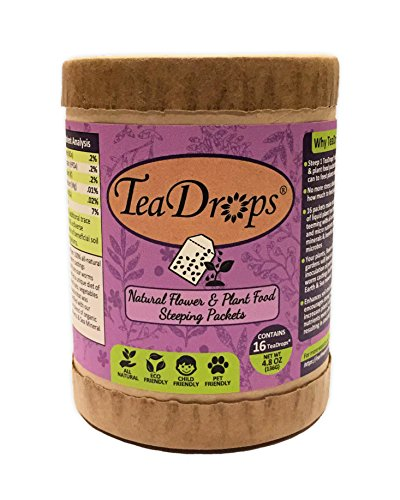 TeaDrops Organic Liquid Flower & Plant Food Packets = 32 Gallons Best Indoor & Outdoor Fertilizer Tea + Natural Garden Humus + Beneficial Soil Fungi Bacteria For House Watering Can & Hose Sprayer