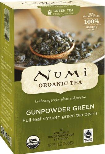 Numi Organic Tea Gunpowder Green - Full Leaf Green Tea in Teabags, 18-Count Box (Pack of 6)