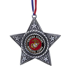 US Marine Corps Military Logo Star Metal Christmas Tree Ornament MC9161 USMC New by Kurt Adler