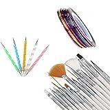 ANBOO 30PCS Nail Art Design Pen, Nail Striping Tape Tool Kit Set Dotting Painting Drawing Polish Brush Tool (30pcs)