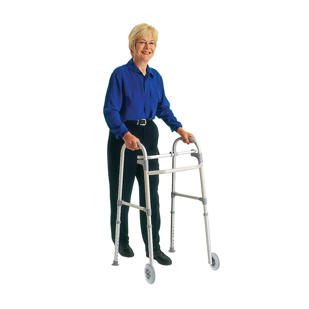 Carex Folding Walker With Wheels For Seniors - Adult Walker - Portable Medical Walker With Adjustable Height, 30-37 Inches, 5 Inch Wheels by Carex Health Brands