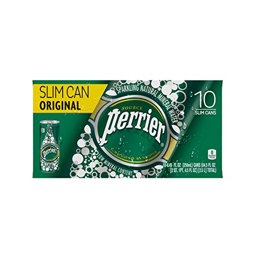PERRIER Sparkling Natural Mineral Water, 8.45-ounce Slim Cans 10 Count