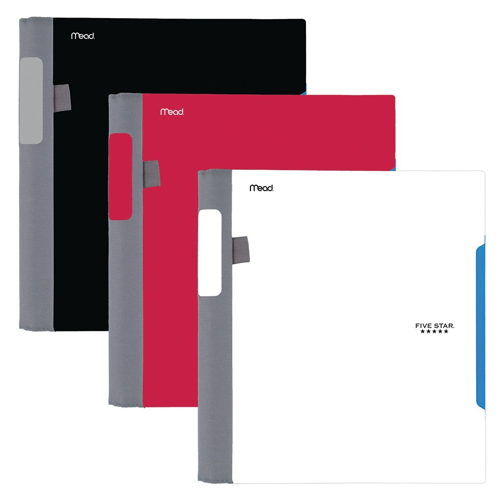 Five Star Advance Spiral Notebooks, 1 Subject, College Ruled Paper, 100 Sheets, 11'' x 8-1/2'', Black, White, Red, 3 Pack (38631)