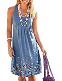 Akery Womens Summer Casual Sleeveless Mini Printed Vest...