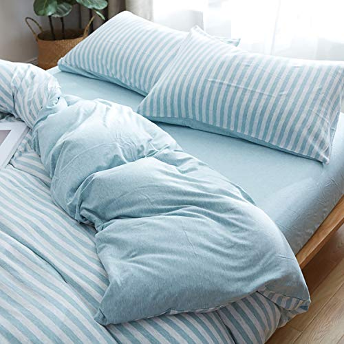Uozzi Bedding 100% Knitted Cotton Pillow Cases 2 Pack -Jersey Knit Cotton Ultra Soft for Your Bed (Blue Stripes, 2 Pack Queen Pillowshams) ()