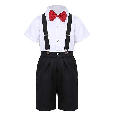 cd78f7f509b82 Freebily 4PCS Enfants Gentleman Ensemble Vêtement de Mariage Baptême Soirée  Garçons Cravate Chemise à Manches Courtes