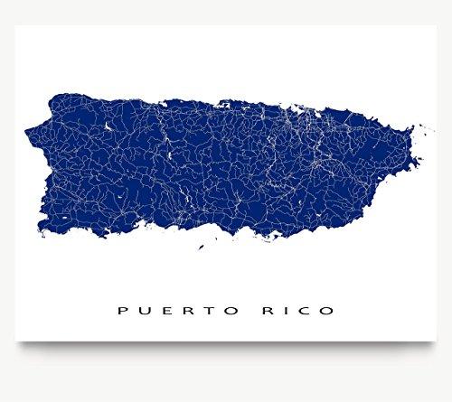 Puerto Rico Map Print, Caribbean Island, Tropical Art Poster